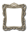 Ornate pewter picture frame against white with drop shadow