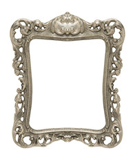 Ornate pewter picture frame silhouetted against white