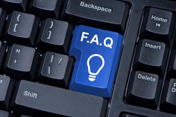 Blue button computer keyboard F.A.Q. internet concept.