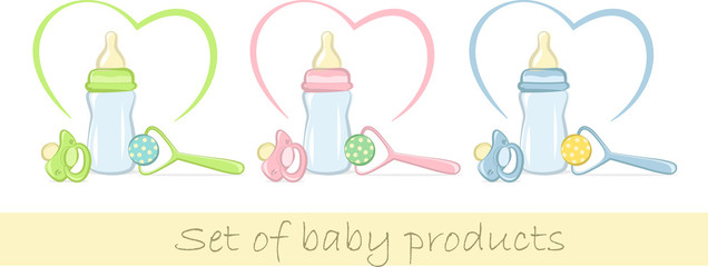 Set of baby products in gentle colors, vector illustration