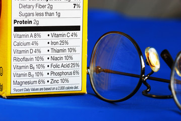 Focus on the nutrition facts from a box of food