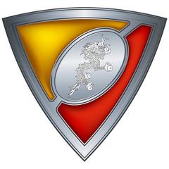 Steel shield with flag Bhutan
