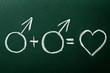 Homosexual copule in love symbols on green blackboard
