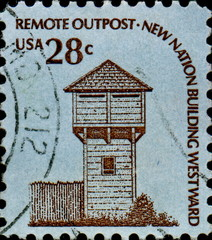 Remote outpost. New nation building westwar. US Postage