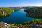 Fototapety River Krka and town in Croatia