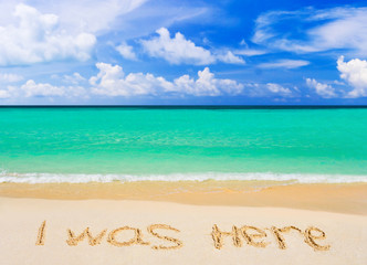 Words I Was Here on beach