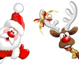 Fototapety Renna e Babbo Natale ok-Funny Santa Claus and Reindeer