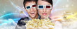 Portrait of young stylish modern couple wearing 3d glasses watch