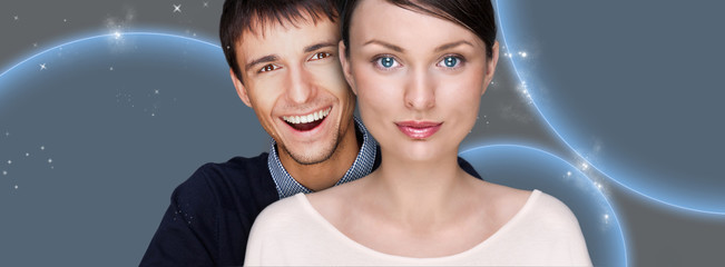 Portrait of beautiful futuristic style couple looking at camera