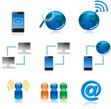 Computer Connecting Vector Icons poster