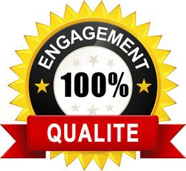 """Sticker """"Engagement 100% Qualité"""""""