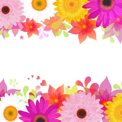 Flower Background With Gerber And Leafs