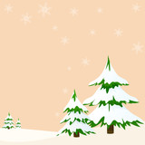 Landscape with fir trees greeting card