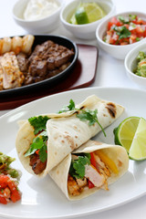 beef chicken and shrimp fajitas, mexican cuisine