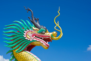 Colorful dragon statue with blue sky in wathyuaplakang temple