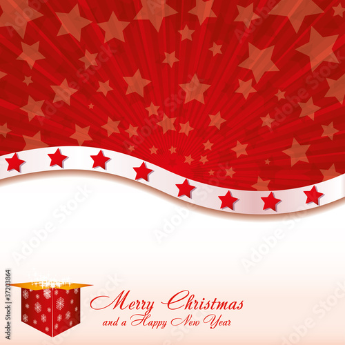 Red Christmas card with stars and starry gift box