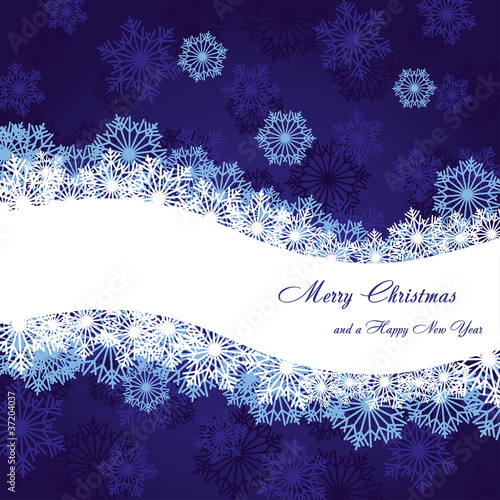 Blue christmas background with wave and snowflakes