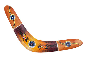Wooden boomerang pattern decorated with lizards