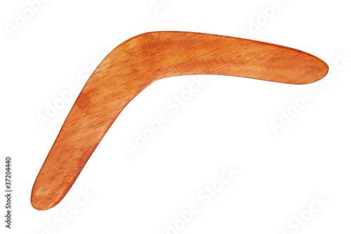 Poster Boomerang bright brown color of wood