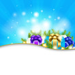 Blue Sunburst Background With Gift