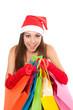 christmas girl in red santa hat
