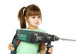 Dirty child girl with electric drill