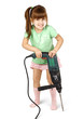 Angry child girl with electric drill