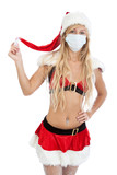 Christmas girl in medical mask. Winter epidemic of flue