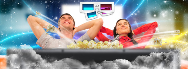 Close up of a cute couple watching movie on their home cinema st
