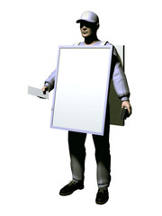 Sandwichman verteilt Flyer und Werbematerial