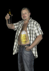 Bodypainting with beer belly