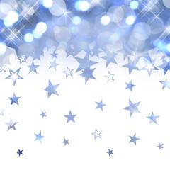 Fond brillant bleu, pluie d'étoiles