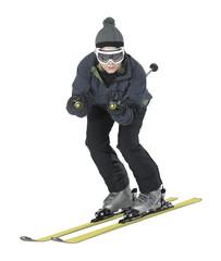 skiing girl in white back