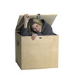 girl sitting inside  a wooden box