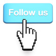 Hand-shaped mouse cursor press Follow Us button