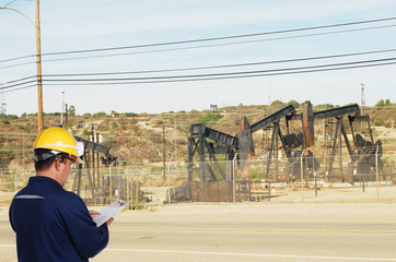 oil driling worker on oil field