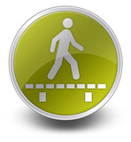 "Yellow Glossy Icon ""Walk On Boardwalk"""