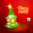 Christmas tree wrapped by a glowing garland. Vector illustration