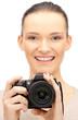 teenage girl with digital camera