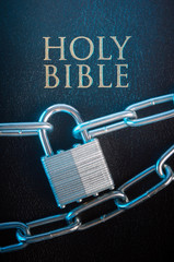 Bible closed with a chain lock