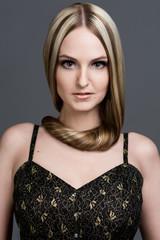 beautiful woman with very long hair.