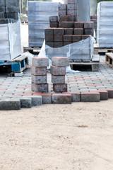 Piles of sidewalk brick