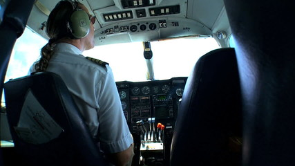 Light Aircraft Pilot at Controls