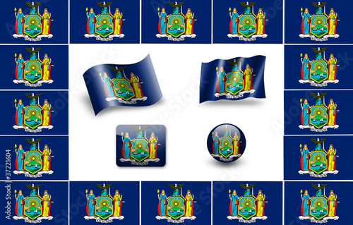 Flag of New York. icon set