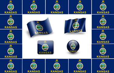 Kansas state flag of America.  icon set. flags frame