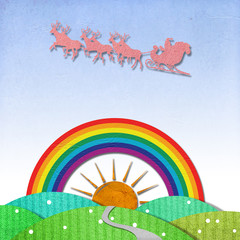 Santa Claus On Sledge With Deer And Rainbow recycled papercraft