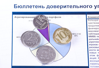 Stacks of coins on a colorful circular chart