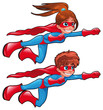 Young superheroes. Vector isolated characters