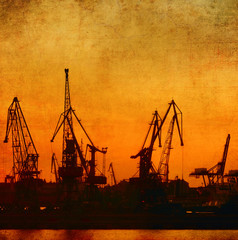 Cargo port, vintage background