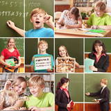 Collage of schoolchildren in studying process and education obje poster